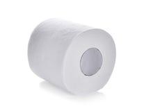 卫生纸,在白色背景隔绝的薄纸卷 免版税库存图片