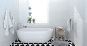 卫生间内部,洗手间,阵雨,拷贝空间背景白色瓦片卫生间的现代家庭设计3d翻译 免版税库存图片