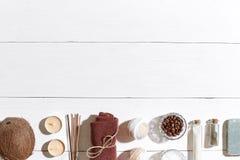 卫生间或温泉在白色背景顶视图大模型设置了 免版税库存照片