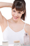 卫生间机体关心纵向妇女年轻人 库存照片