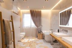 卫生间的室内设计,3d在斯堪的纳维亚样式的例证 库存例证