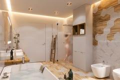 卫生间的室内设计,3d在斯堪的纳维亚样式的例证 向量例证