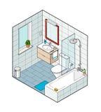 卫生间的等量例证 手拉的内部看法 免版税库存照片