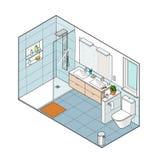 卫生间的等量例证 手拉的内部看法 免版税库存图片