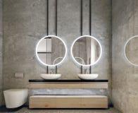 卫生间虚荣现代室内设计,所有墙壁由与圈子镜子,minimalistic和干净的概念的石平板制成 库存照片