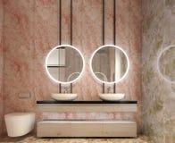 卫生间虚荣,所有墙壁现代室内设计由与圈子镜子的石平板制成 免版税库存照片