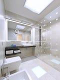 卫生间内部在现代和时髦的房子里 库存图片