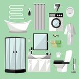 卫生间内部家具 在平的样式的传染媒介例证 设计元素,浴缸,洗衣机,阵雨 库存照片