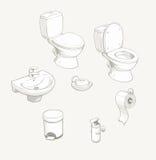 卫生间和洗手间设备辅助部件 向量例证