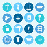 卫生间图标设置了 家庭设备 例证 免版税库存图片