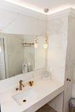 卫生间在一家五星旅馆里在波摩莱,保加利亚 库存图片