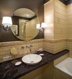 卫生间在有阵雨和浴的经典style.luxury卫生间里 库存照片