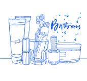 卫生间室例证洗涤沐浴家具 向量例证