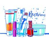 卫生间室例证洗涤沐浴家具 库存照片