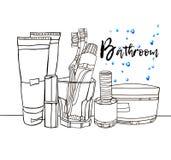 卫生间室例证洗涤沐浴家具 免版税库存照片
