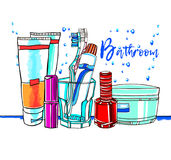 卫生间室例证洗涤沐浴家具 库存例证