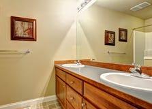 卫生间有两个水槽和镜子的虚荣内阁 库存照片