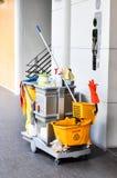 卫生间清洗的成套工具 免版税图库摄影
