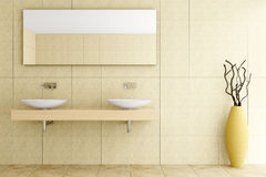 卫生间米黄现代瓦片墙壁 免版税库存照片