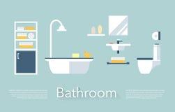 卫生间设计集合洗手间向量 免版税库存照片