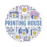 印刷厂与平的线象的圈子海报 印刷店设备-打印机,扫描器,垂距机器,绘图员 皇族释放例证