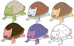 印刷品动画片乱画妖怪乌龟彩色组手凹道滑稽愉快 库存例证
