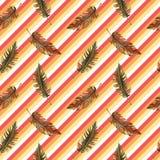 印刷品夏天异乎寻常的密林植物热带棕榈叶 样式,无缝花卉在五颜六色的几何backgroun 免版税图库摄影