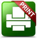 印刷品打印机图标绿色正方形按钮 免版税库存照片