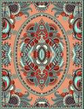 印刷品的乌克兰花卉地毯设计在帆布 库存图片