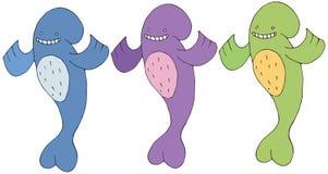 印刷品鲸鱼动画片乱画彩色组妖怪愉快的手凹道 皇族释放例证