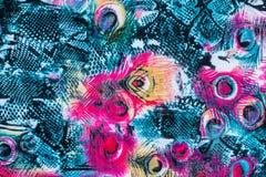 印刷品织品纹理镶边了孔雀羽毛和蛇 免版税库存照片