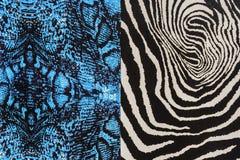 印刷品织品纹理镶边了蛇皮革和斑马 图库摄影