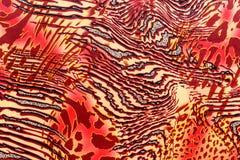 印刷品织品纹理镶边了豹子和斑马 免版税库存图片