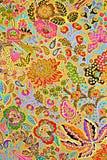 印刷品织品纹理镶边异乎寻常的花 图库摄影