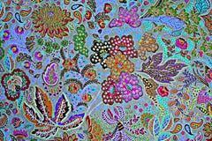 印刷品织品纹理镶边异乎寻常的花 库存图片