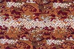 印刷品织品镶边蛇皮革纹理  免版税库存图片