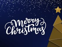 印刷圣诞卡片卡片设计 金黄奈伊年树和星,Xmas在上写字和snowon蓝色和冷的背景 皇族释放例证