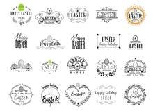 印刷徽章-复活节快乐 根据剧本字体,手工制造 它可以用于设计您打印的 库存照片