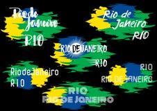 印刷术元素为巴西标签、徽章、海报、横幅、卡片与两个变形名字里约和de Janeiro设计 库存照片