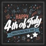 印刷术卡片美国独立日 粉笔板 免版税库存图片