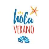 印刷术手拉的五颜六色的横幅海壳和文本你好夏天在西班牙语 向量例证