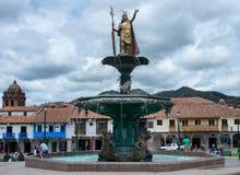 印加人喷泉在广场de库斯科,秘鲁阿玛斯  免版税库存图片