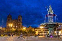 印加人喷泉在广场de库斯科,秘鲁阿玛斯  免版税库存照片