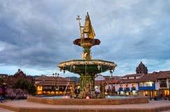 印加人喷泉在库斯科,秘鲁 免版税库存图片