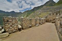 印加人大厦的内部 Machu Picchu 秘鲁 库存图片