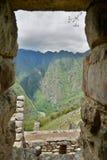 从印加人大厦的看法 Machu Picchu 秘鲁 免版税库存照片