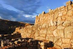 印加人宫殿废墟在Chinchero,库斯科省,秘鲁 库存图片
