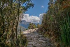 印加人足迹艰苦跋涉的天三对马丘比丘的 免版税库存照片