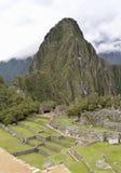 印加人machu概览秘鲁picchu废墟 免版税图库摄影