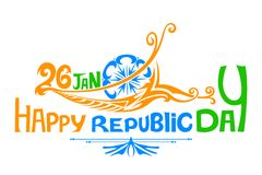 印地安三色旗子为愉快的共和国天 免版税库存图片